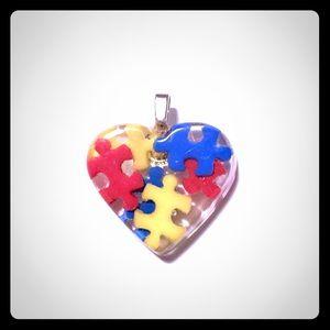 Autism Awareness Heart Pendant